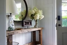 Black and White House accents with wood