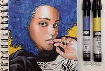 Portraits made with markers
