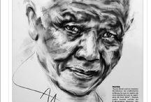 Fusain Charcoal / Art /  NELSON MANDELA  / ROLLING STONE MAGAZINE / Hom Nguyen