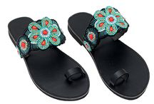 "Leather Handmade Ethnic Sandals ""DT 1264"" col. Black / Turquoise / Coral"