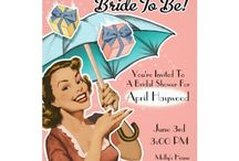 Vintage Style Bridal Shower Invitations + Favors / This vintage style template features a cute retro gal holding an umbrella as gifts are showering down. A perfect invitation for the gal who loves all of the Fabulous fashions of the 1920's -1960's eras.