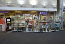 Glass cupboard collection in the Library Atrium