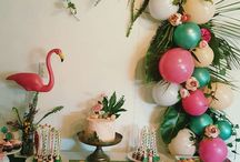 Flamingo Party styled by Lexi-Lu / My daughter turned 3 recently, i own Lexi-lu and I am a passionate Kids / Adults party planner, stylist, caker & party treats maker.  flamingo - flamingo party - tropical party - balloon garlands