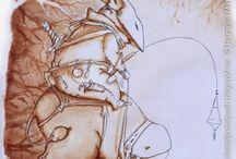 Сумеречный всадник / кофейные рисунки
