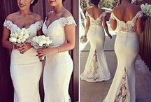 bridesmaid / Blush and Grey bridesmaid dresses