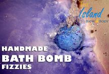 Bath Bomb Fizzies / Bath Bombs handmade by The Island Bath and Body are rich in skin softening, muscle relaxing, cruelty free ingredients to detoxify and moisturize your skin!