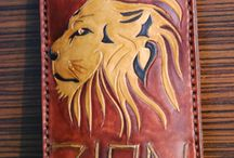 Lion the Zion Phone cover, custom, veg tan leather