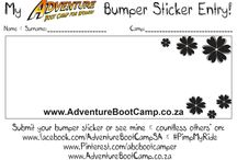 Competition: ABC Bumper Sticker / Share your Bumper Sticker message with us, and you could get it printed for your camp time slot and your friends and family, and win a 20 sessions camp!  Check out the pins for all the info you need in order to enter.