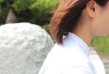 髪のなびき