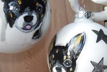 hand painted ornaments / hand painted pet portraits on glass ornaments