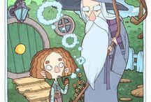 La Fantasía en la literatura / Ilustraciones que recrean episodios de algunas de mis obras y autores de Fantasía favoritos.