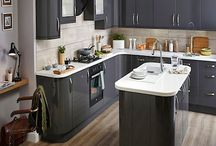 Contemporary Dark Grey Gloss Kitchens / A selection of smart dark grey gloss cabinets. A beautiful, clean contemporary look for any home.