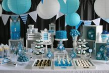 Simple white and blue party decor