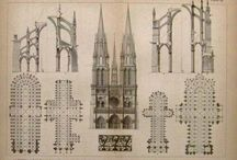 Arch. Drawings - Medieval Buildings / Architectural Drawings & Prints of Romenesque, Gothic Architecture