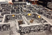 Wargaming Terrain - Gothic Terrain / I made the masters out of Hirst Arts molds, and pour the pieces in resin. Also used in Pathfinder RPG. The torch pieces have a flickering LED built into them, with a CR2032 battery in the base for power.