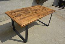Reclaimed Barn Wood Tables / Custom Reclaimed Barn Wood Industrial Rustic Dining Tables. Custom Metal & Wood Bases.