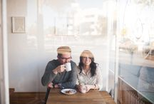 Coffee shop & winter engagement session