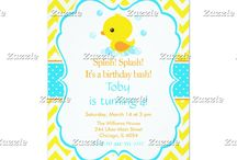 Rubber Ducky Baby Duckling Blue Birthday / This collection features a cute baby duckling. The background consists of bright yellow chevrons, a blue border and a blue polka dot ribbon.
