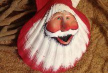 Christmas shell painting