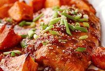 Salmon with sweet potato bake