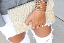jean outfits with clutch purse