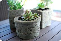 Jardinières en ciment