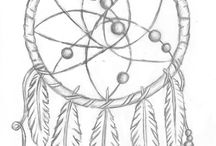 Dreamcatcher Drawings / just a board as inspiration / research / sources for my recent novel
