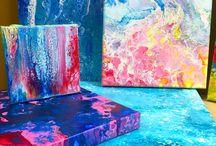 """Peinture acrylique """"Pouring»"""