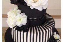 pasteles blanco y negro
