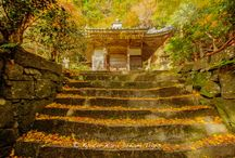 """Konzō-ji, Autumn 2015, on Oshio Mountain, Kyoto! / Konzō-ji (金蔵寺) was founded by priest Ryuho Zenji at the request of Emperor Genshō in 718. Later, Emperor Shōmu bestowed upon this temple his own calligraphy of the temple's name written on board and buried ancient sutras he had copied. Then, Emperor Kanmu designated that the temple be the protector of his newly constructed capital and he also buried sutras here as a prayer for the protection of the capital, renaming the temple """"Nishi Iwakura-san (西岩倉山)""""."""