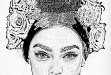 Mujer flores / A lapiz