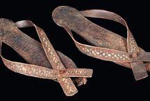 Coptic art artifacts / Coptic textile - Coptic art - Pilgrim flask - Coptic mirror - Coptic doll - Bread stamp