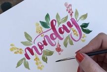 Leterring watercolor