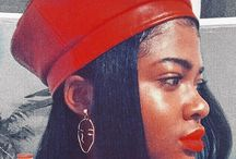 Black gold / Red beret, Red leather beret, women's kufi hat, leather kufi hat, beret hat, African jewellery, tribal jewellery, red lipstick on dark skin, black vintage looks.  @NaomeJones