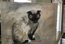 Cats and Dog Paintings