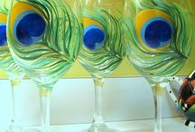 Wine glasses painted