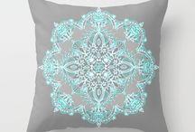Teal grey blue cushions
