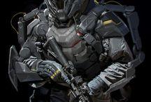 Sci-fi armor, uniform, characters