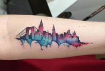 Watervolor Cityscape Tattoo