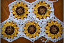 horgolt négyzet, hexagon