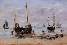 """Eugène Boudin / Eugène Louis Boudin (French: [budɛ̃]; 12 July 1824 – 8 August 1898) was one of the first French landscape painters to paint outdoors. Boudin was a marine painter, and expert in the rendering of all that goes upon the sea and along its shores. His pastels, summary and economic, garnered the splendid eulogy of Baudelaire; and Corot called him the """"king of the skies"""""""