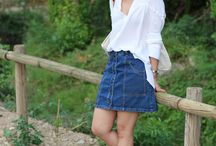 "Denim Skirt ""A"" / looks y outfits con falda vaquera"