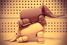 Elephants / 3D printed elephants in acrobatic poses. Circus elephants.
