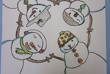 elementary art - snowmen (and women)