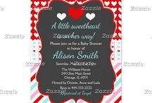 A Little Sweetheart Valentine's Green Baby Shower / This collection features a red and white heart on a chalkboard frame. The background consists of white hearts on dark red, pink, green and red stripes and a heart ribbon.