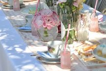 Flowers and diningtable
