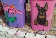 painted bins