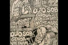 Illustrator TOM - OUTO S.O.B - JAPANESE HARDCORE PUNK / OUTO、S.O.Bをはじめ80年代の関西ハードコアシーンで欠かす事の出来ないTOM画伯が手がけたアートワークを集めています。