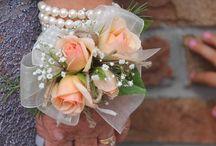 KS- Wedding / Blue and Peach Wedding Flowers:  -Blue Hydrangeas -Peach Roses -Blue Delphinium  White Daisies -Peach Hypericum (Berries) -Baby's Breath