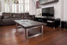 Mac+Wood Coffee Table / The beautifully constructed Mac+Wood Coffee Table. A reclaimed wood top with brushed steel legs.